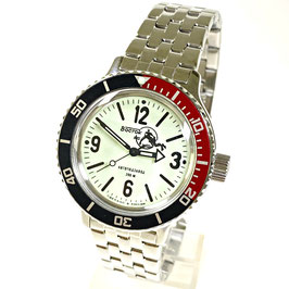 """AMPHIBIA automatic watch """"SCUBA DUDE"""" with Luminous dial, bicolour bezel and Scuba Dude case back by VOSTOK-Watches24, stainless steel, brushed, ø40mm"""