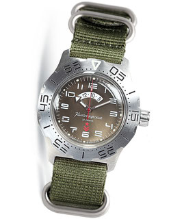 "Russian automatic watch ""KOMANDIRSKIE K-35"" with additional 24hr time indication by VOSTOK, stainless steel, brushed, ø42mm"