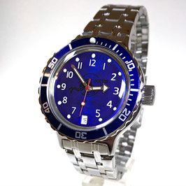 "VOSTOK ""AMPHIBIA"" K-42 automatic diver watch ""DIVER"" with blue bezel and SCUBA case back by VOSTOK, 200m water proof, stainless steel, polished, ø40mm"