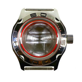 Case 100 for VOSTOK AMPHIBIA watches, red minutes on bezel, stainless steel, polished, complete