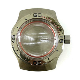 Case 160 for VOSTOK AMPHIBIA watches with polished bezel, red minutes, stainless steel, brushed, complete