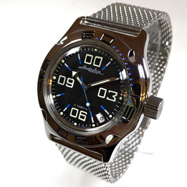 Automatik diver watch AMPHIBIA K-10 with Milanaise bracelet by VOSTOK, 200m water proof, stainless steel, polished, ø42mm