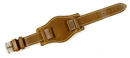 20mm, pilots leather strap for VOSTOK watches, brown, white stitched, ARM-LD20-12