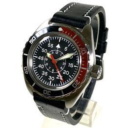 Russische Fliegeruhr B-Uhr mit gelumtem Zifferblatt, SuperLumiNova, Glasboden, veredeltes Automatikwerk und AVIATOR - Fliegerarmband von Vostok-Watches24, Automatik, Edelstahl, gebürstet, ø42mm