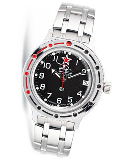"Russian automatic watch VOSTOK KOMANDIRSKIE ""BLACK TANK"" by VOSTOK, 200m water proof, stainless steel, polished, ø40mm"