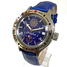 "VOSTOK ""AMPHIBIA"" K-42 automatic diver watch ""SAILOR"" with glass case back and blue leather strap by VOSTOK, 200m water proof, stainless steel, polished, ø40mm"