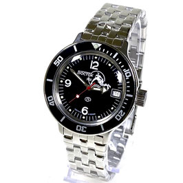 """VOSTOK """"AMPHIBIA"""" K-42 automatic watch """"DIVER Black"""" with black bezel and SCUBA case back by VOSTOK, 200m water proof, stainless steel, polished, ø40mm"""