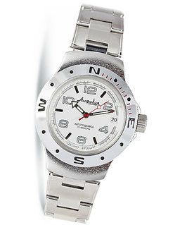 "Russian automatic watch ""AMPHIBIA K-06"" by VOSTOK, 200m water proof, stainless steel, satin, ø40mm"