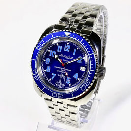 """Russian automatic watch VOSTOK """"AMPHIBIA"""" K-71 with blue bezel and glass case back by VOSTOK, 200m water proof, stainless steel, polished, 41x44mm"""