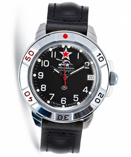 "Russian hand-winding watch KOMANDIRSKIE ""BLACK TANK"" by VOSTOK, polished, ø40mm"