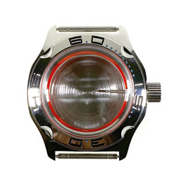Case 100 for VOSTOK AMPHIBIA watches, blue minutes on bezel, stainless steel, polished, complete