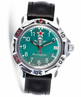 "Russian hand-winding watch KOMANDIRSKIE ""VDV GREEN"" by VOSTOK, polished, ø40mm"