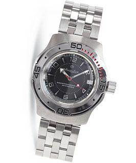 "Russian automatic watch ""AMPHIBIA"" diver watch by VOSTOK, 200m water proof, stainless steel, brushed, ø41mm"