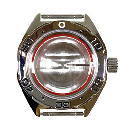 Case 670 with polished bezel for VOSTOK KOMANDIRSKIE watches with polished bezel, stainless steel, polished, complete