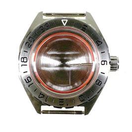 Gehäuse 650 Mit 24Std.-Lünette für VOSTOK KOMANDIRSKIE Uhren von VOSTOK, Edelstahl, gebürstet, komplett