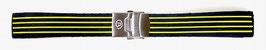22mm VOSTOK silicone strap, black with yellow stripes