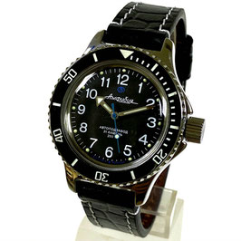 """Russian Automatik diver watch """"AMPHIBIA K-12""""  black bezel with ceramic insert, glass case back and calfskin strap by VOSTOK, 200m water proof, stainless steel, polished, ø40mm"""
