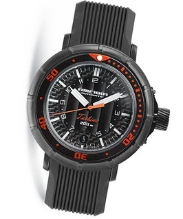 "Automatik diver watch ""AMFIBIA TURBINA"" by VOSTOK, 200m water proof, stainless steel, black PVD coated, carbon dial, ø45mm"