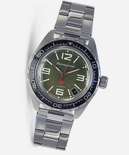 "Automatik watch ""KOMANDIRSKIE K-02"" with glass case back by VOSTOK, stainless steel, brushed, ø42mm"