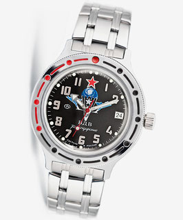 "Russian automatic watch VOSTOK KOMANDIRSKIE ""VDV Black"" by VOSTOK, 200m water proof, stainless steel, polished, ø40mm"