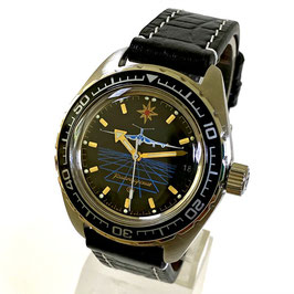 """Automatik watch """"CIVIL AVIATION"""" with refined movement, glas back and scalfskin strap by Vostok-Watches24, stainless steel, brushed, ø42mm"""