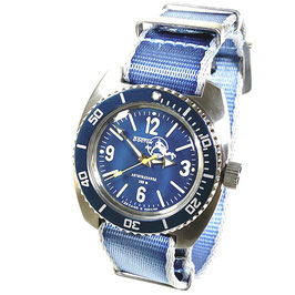 AMPHIBIA SCUBA DUDE automatic watch, dial and hands with SuperLumiNova, Scuba Dude case back und sea blue NATO strap by Vostok-Watches24, Edelstahl, gebürstet, ø41,5mm