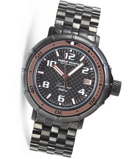"Automatik wrist watch ""AMFIBIA TURBINA"" by VOSTOK, 200m water proof, stainless steel, black PVD coated, carbon dial, ø45mm"