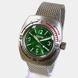 AMPHIBIA 1967 automatic watch by Vostok-Watches24, sandwich dial, sunburst green, paddle hands, AMPHIBIA 1967 case back, 200m water proof, stainless steel, satin, 42x48mm