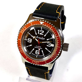 "Russian automatic watch ""AMPHIBIA K-10"" with orange bezel, glass case back and orange stitched calfskin strap by VOSTOK, 200m water proof, stainless steel, polished, ø42mm"