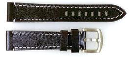 20mm, AVIATOR leather strap for VOSTOK watches, calfskin, dark brown, ARM-20mm-LD04