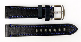 22mm, blue stitched AVIATOR leather strap for VOSTOK watches, calfskin, ARM-LD22-04