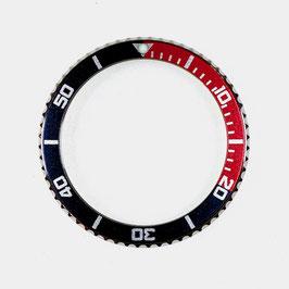 Lünette für VOSTOK AMPHIBIA KOMANDIRSKIE Uhren von VOSTOK, Edelstahl, poliert, schwarz rot, ø40mm, LÜ-INS-02