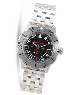 "Russian 24hr automatic watch VOSTOK ""KOMANDIRSKIE"" by VOSTOK, stainless steel, brushed, ø42mm"