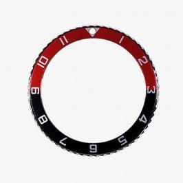 Lünette mit Stundenziffern für VOSTOK AMPHIBIA KOMANDIRSKIE Uhren von VOSTOK, Edelstahl, poliert, schwarz rot, ø40mm, LÜ-INS-50