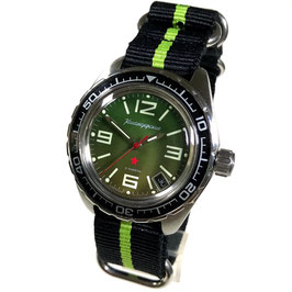 "Automatik watch ""KOMANDIRSKIE K-02"" with ZULU nylon strap by VOSTOK, stainless steel, brushed, ø42mm"