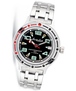 "VOSTOK ""AMPHIBIA"" K-42 automatic diver watch ""Black BL Green"" by VOSTOK, 200m water proof, stainless steel, polished, ø40mm"