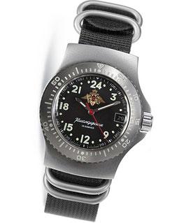 KOMANDIRSKIE RATNIK K-28 Armbanduhr mit 24-Std-Zeitanzeige von VOSTOK, Edelstahl, satiniert, 40x50,5mm