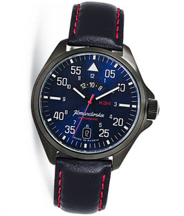 """Russian automatic watch """"KOMANDIRSKIE K-34"""" with additional 24hr time and sandbars blue dial by VOSTOK, 100m water proof, stainless steel, black PVD coated, ø42mm"""
