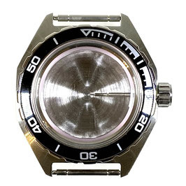 Case 650 for VOSTOK KOMANDIRSKIE watches with brushed bezel, with crown and plastic fixation ring, stainless steel, polished, complete