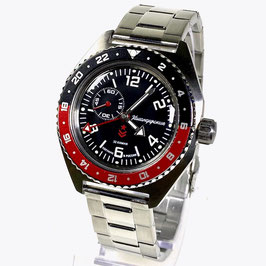Russian automatic watch VOSTOK KOMANDIRSKIE K-65 with additional 24hr indication with red/black GMT bezel and glass case back by VOSTOK, stainless steel, brushed, ø42mm