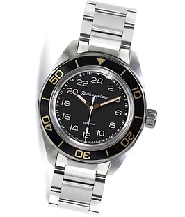 "Automatik 24hr watch ""KOMANDIRSKIE K-03"" with stainless steel braveletby VOSTOK, stainless steel, brushed, ø42mm"