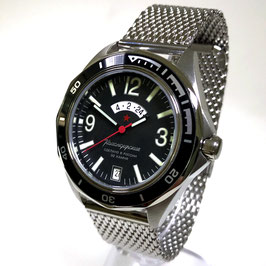 Russian automatic watch VOSTOK KOMANDIRSKIE K-46 with additional 24h rtime  indication, mesh-band (milanaise) by VOSTOK, stainless steel, brushed, ø41mm