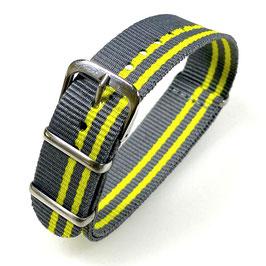 18mm NATO Armband Nylon grau gelb