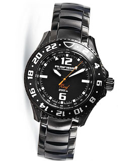"""Automatik wrist watch """"AMFIBIA REEF"""" wit additional 24hr indication by VOSTOK, 200m water proof, stainless steel, black PVD coated, ø42mm"""