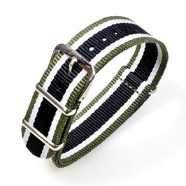 22mm NATO Armband Nylon military green weiß schwarz (NATO15-22mm)