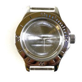 Gehäuse 120 mit Lünette mit blauen Minuten für VOSTOK AMPHIBIA Uhren von VOSTOK, Edelstahl, poliert, komplett