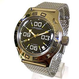 Automatik Uhr Taucheruhr AMPHIBIA mit Milanaise-Armband von VOSTOK, 200m wasserdicht, Edelstahl, poliert, ø42mm