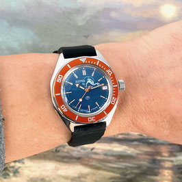 """""""AMPHIBIA SCUBA DUDE"""" automatic watch with oversized orange second hand, orange bezel and Scuba Dude case back by VOSTOK-Watches24, stainless steel, brushed, ø41,5mm"""
