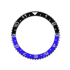 Lünette mit schwarz / blauem Keramik - Insert und Leuchtmasse für VOSTOK AMPHIBIA KOMANDIRSKIE Uhren von VOSTOK, Edelstahl, weiße SuperLumiNova Leuchtmasse, ø40,0mm