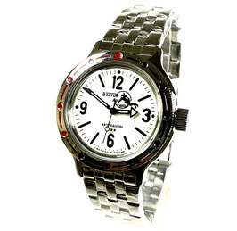 "AMPHIBIA automatic watch ""SCUBA DUDE"" with Luminous dial by VOSTOK-Watches24, stainless steel, brushed, ø40mm"